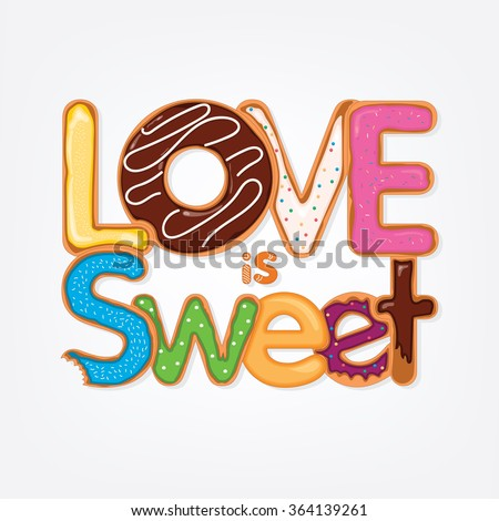 Valentines Day card with love is sweet phrase - stock vector