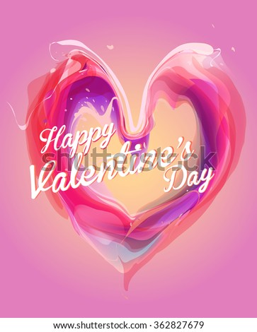 Valentines day card with love on gradient background - stock vector
