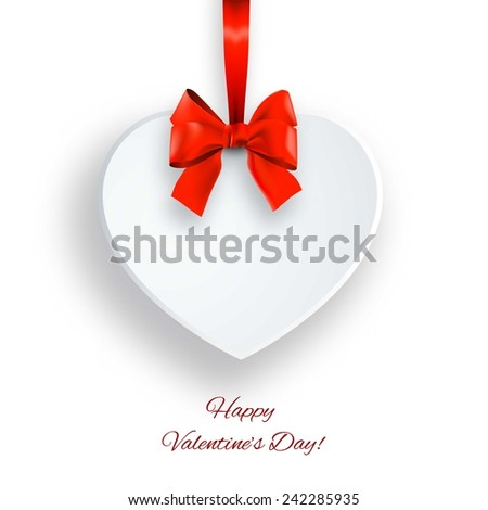 Valentines Day card with paper heart and bow - stock vector