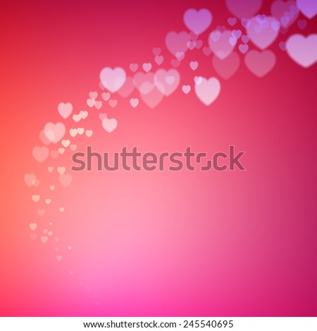 Valentines Day card with scattered blurred hearts confetti - stock vector