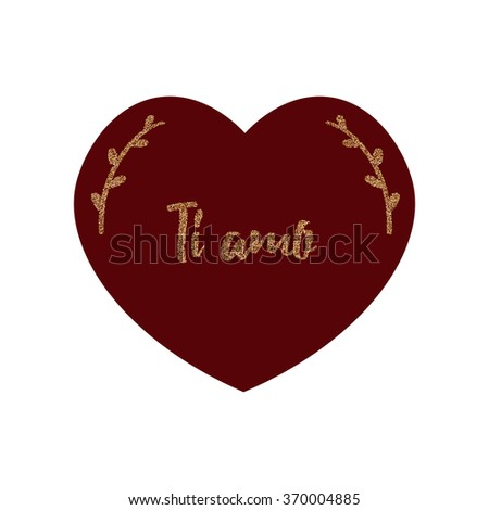 "Valentines Day card with words ""I love you"" in italian. ""Ti amo"" love card."