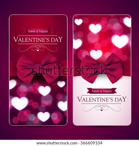 valentines day cards bow shiny hearts stock vector 366609104, Ideas
