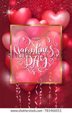 valentines day cards with heart shaped air balloons gold frame and beautiful lettering vector