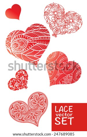 Valentines day cards with lace ornaments, hearts,  - stock vector