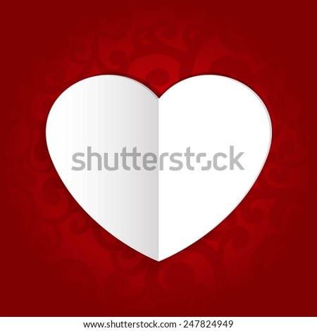 Valentines day cars in heart shape on abstract background with swirls in red colors - stock vector