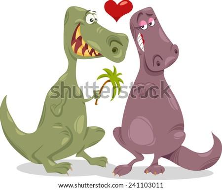 Valentines Day Cartoon Vector Illustration of Funny Dinosaurs in Love - stock vector