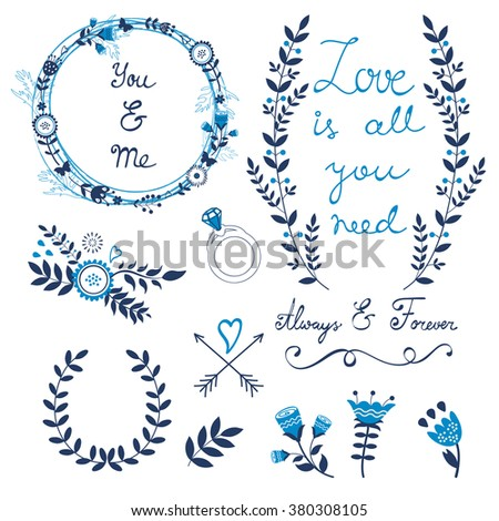 Valentines day collection with flowers, wreaths and other graphic elements. Retro style floral wreaths. Vector illustration