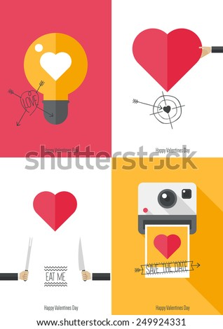 Valentines day concept - 4 cards - stock vector