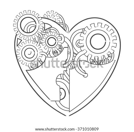 Valentines day cool steampunk lineart vector mechanical heart, hand drawn illustration - stock vector