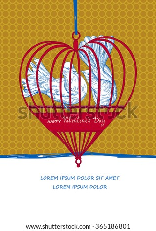 Valentines Day Creative Card Design, Beautiful Birds and heart artistic pattern, retro and vintage style, Valentine's day elegant illustration - stock vector