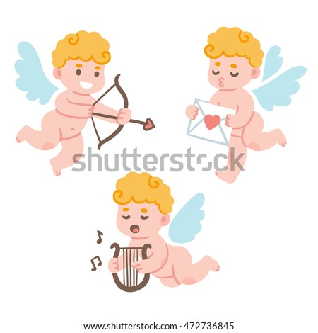 Valentines Day cute cartoon cupid set. Adorable little cherub with bow and arrow and love mail. Funny vector illustration.