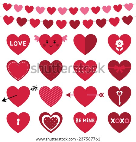 Valentines Day decoration and hearts, vector set