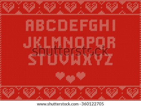 Valentines Day Design, Knitting Pattern, Red with hearts and Alphabet ABC. Useful for Postcards - stock vector