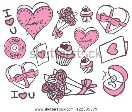 valentines day doodle - stock vector