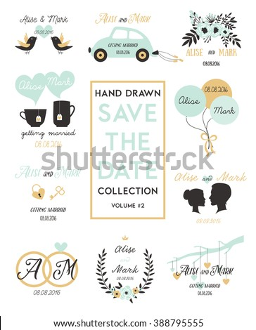 Valentines Day elements, Save the day templates invitation, romantic elements for wedding design. Vintage Elements Isolated On White Background - Vector Illustration editable for your Design.  - stock vector