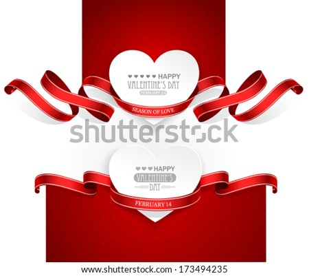 Valentines Day emblems with red ribbons. Vector - stock vector