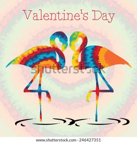 Valentines Day Flamingo Love. Hippie style Vector illustration. - stock vector