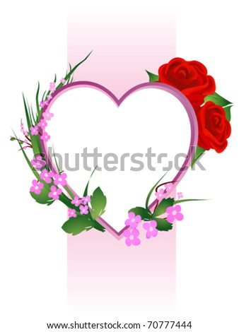 Valentines Day floral composition, isolated objects over white - stock vector