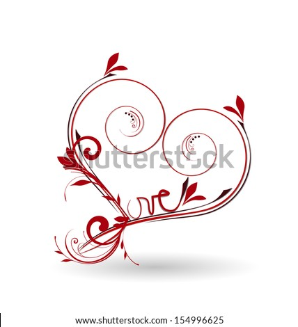 Valentines Day Floral Love Heart Vector - stock vector