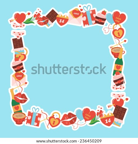Valentines day frame, made in flat design. Vector - stock vector