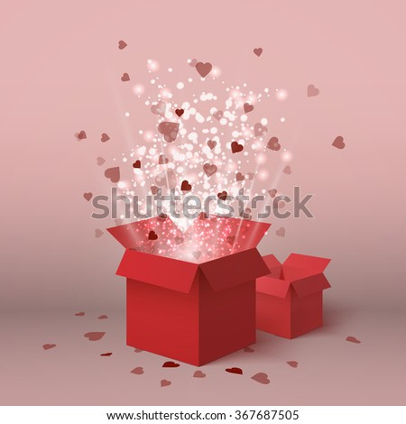 Valentines day gift box isolated. Hearts. 8 march. Red gift box with flying hearts for holiday. Gift box isometric. Love is in the air. Vector love box. Womens day box. Surprise box. Isometric box.Box
