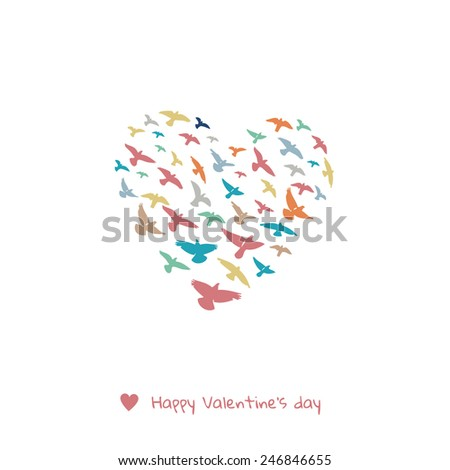 Valentines day greeting card - doves heart - stock vector
