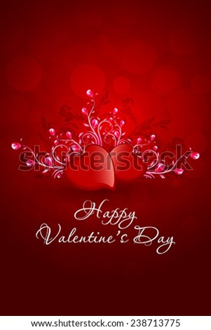Valentines Day Greeting Card in Red Color - stock vector