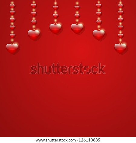 Valentines day greeting card. Red background