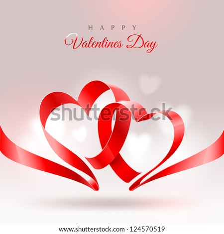 Valentines Day greeting card - ribbon in the shape of two hearts - stock vector