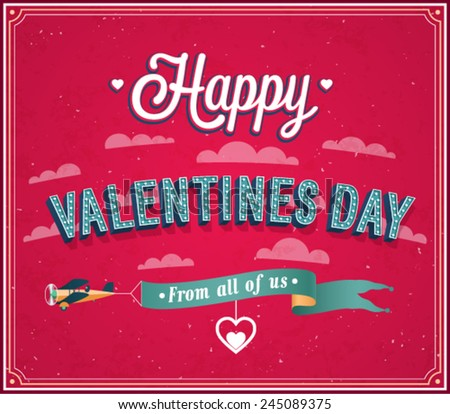 Valentines day greeting card. Vector illustration. - stock vector