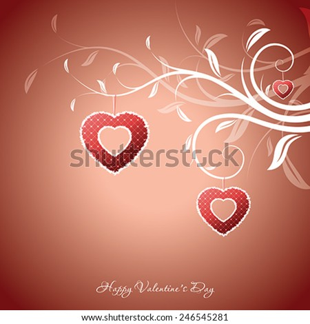 Valentines Day Greeting Card with hand drawn floral - stock vector