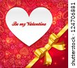 Valentines day greeting card with heart and golden ribbon - stock photo