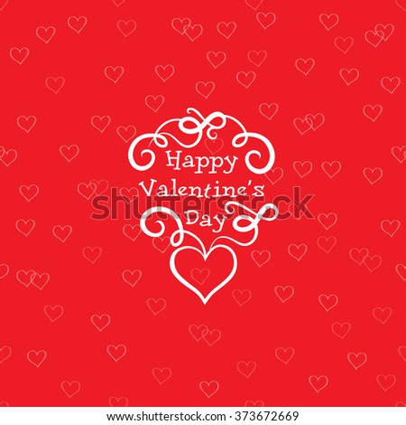 Valentines Day Greeting Card with love heart shape seamless red pattern Valentines day stylish background  - stock vector