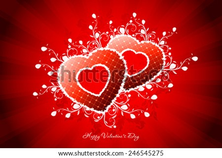 Valentines Day Greeting Card with Ornaments - stock vector