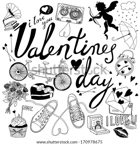 Valentines day hand-drawn symbols collection  - stock vector