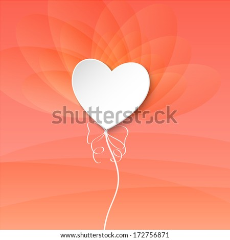 Valentines Day Heart Balloon on pink background - stock vector