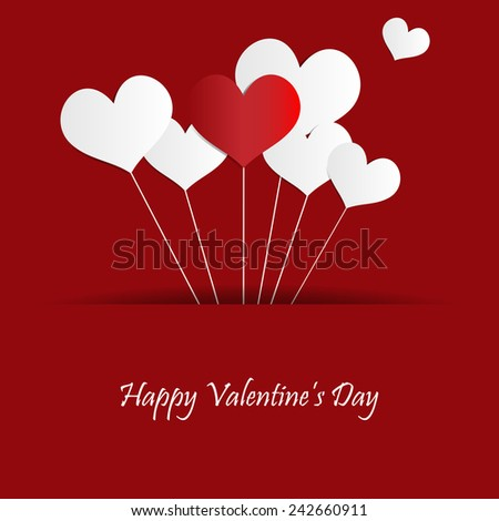 Valentines Day Heart Balloons - stock vector