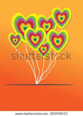 Valentines Day Heart Balloons on Orange Background - stock vector