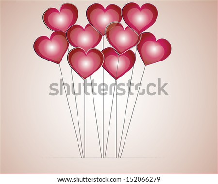 Valentines Day  Heart  Balloons on red Background - stock vector