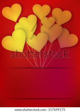 Valentines Day Heart Balloons on red Background. And also includes EPS 10 vector - stock vector