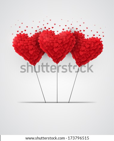 Valentines Day Heart Balloons on White Background - stock vector