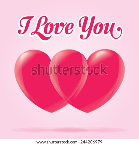 Valentines day heart love element, i love you text, pink - stock vector