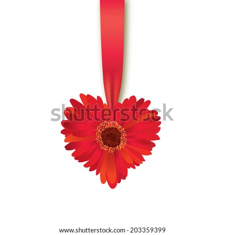 Valentines Day Heart Made of Flower with Ribbon Isolated on White Background.
