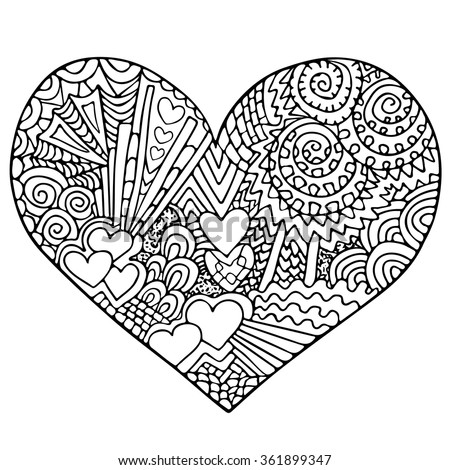heart zentangle coloring pages - photo#23