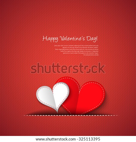 Valentines day hearts card - stock vector