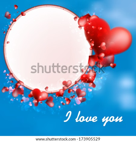 Valentines Day Hearts on blue Background. + EPS10 vector file - stock vector