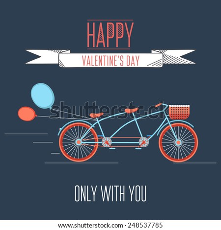 Valentines day illustration with bicycle and typography design elements. - stock vector