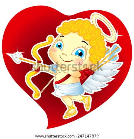 Valentines Day illustration with Cupid on Red Heart - stock vector