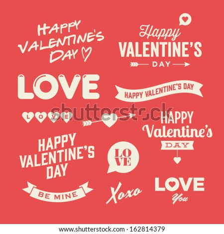 Valentines day illustrations and typography elements - stock vector