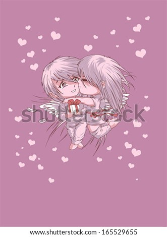 Valentines Day kiss vector card - stock vector